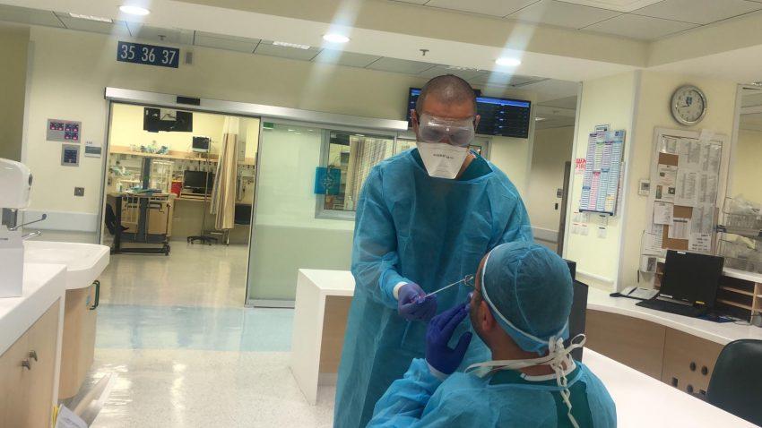 בדיקת קורונה בהדסה (צילום: דוברות הדסה)